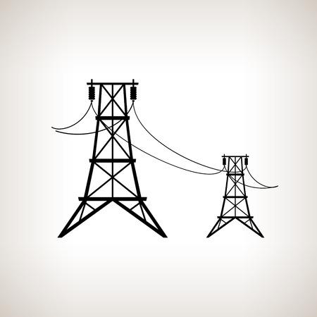 Silhouet van hoogspanningskabels op een lichte achtergrond, zwart en wit vector illustratie Stock Illustratie
