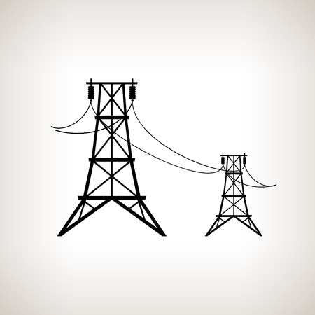 Silhouette high voltage power lines on a light background, black and white vector illustration
