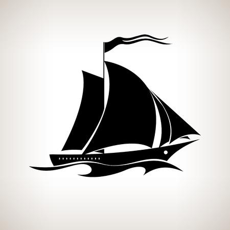 Buque silueta vela, barco de vela con una bandera en las olas sobre un fondo claro, negro y blanco ilustración vectorial