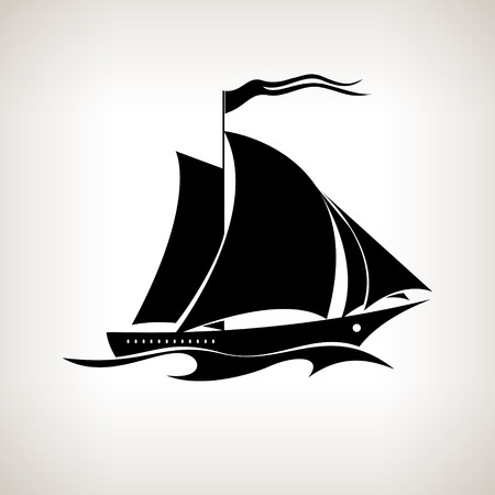 Silhouette sailing vessel, sailboat with a flag in the waves on a light background,  black and white  vector illustration