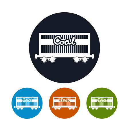 Icon railway wagon for coal or sand or other granular material,  the four types of colorful round icons railway freight car ,vector illustration Vector