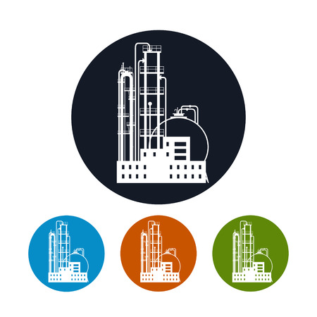 pollutants: Icon of a chemical plant or refinery processing of natural resources, or a plant for the manufacture of products. Chemical factory silhouette for industrial and technology design, the four types of colorful round icons plant , vector illustration
