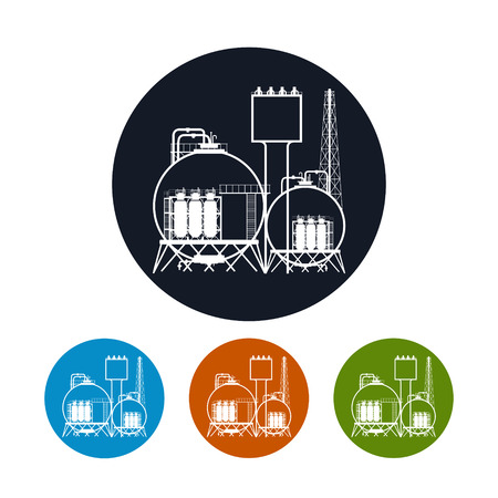 Icon of a chemical plant or refinery processing of natural resources, or a plant for the manufacture of products. Chemical factory silhouette for industrial and technology design, the four types of colorful round icons plant , vector illustration