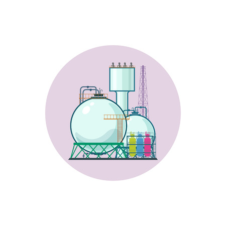 pollutants: Icon of a chemical plant or refinery processing of natural resources, or a plant for the manufacture of products. Chemical factory silhouette for industrial and technology design, vector illustration