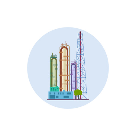 Icon of a chemical plant or refinery processing of natural resources, or a plant for the manufacture of products. Chemical factory silhouette for industrial and technology design, vector illustration Vector