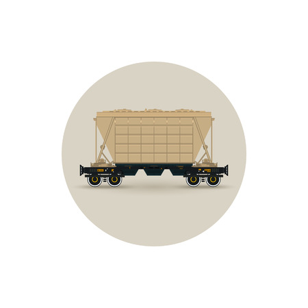 Icon hopper car for mass transit fertilizer, cement, grain and other bulk cargo,  vector illustration Vector