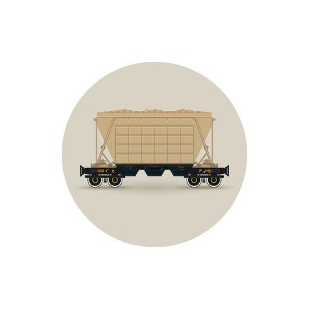 fertilizer: Icon hopper car for mass transit fertilizer, cement, grain and other bulk cargo,  vector illustration