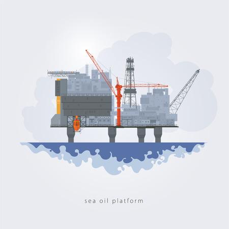 lifeboat: Offshore oil platform. Helipad, cranes,  derrick, hull column , lifeboat , workshop, manifold, gas lift module, vector illustration