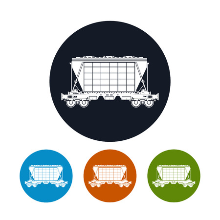 Icon hopper car for mass transit fertilizer, cement, grain and other bulk cargo, the four types of colorful round icons plant , vector illustration Illustration