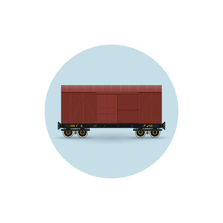 대기의: Icon of the covered freight car for transportation of goods, the demanding protection against an atmospheric precipitation, vector illustration