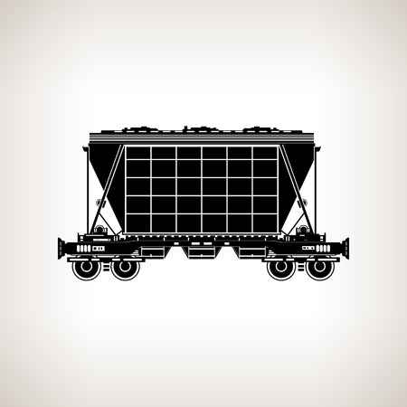 Silhouette hopper car for mass transit fertilizer, cement, grain and other bulk cargo on a light background, black and white vector illustration Vector