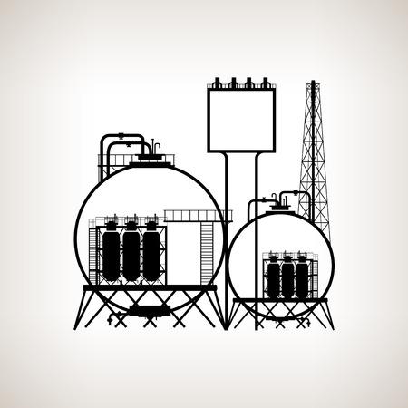 Silueta de una fábrica de productos químicos o de procesos de refinado de los recursos naturales, o una planta para la fabricación de productos sobre un fondo claro. Silueta fábrica de productos químicos para el diseño industrial y la tecnología, negro y blanco ilustración vectorial