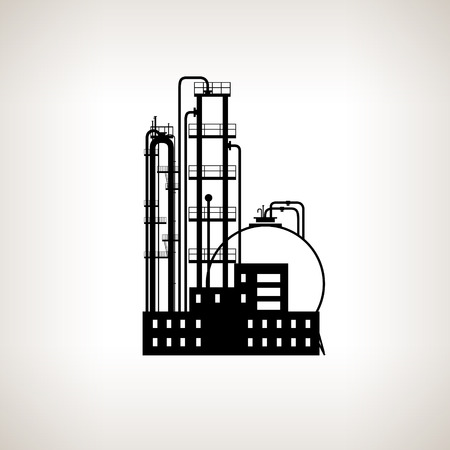 pollutants: Silhouette of a chemical plant or refinery processing of natural resources, or a plant for the manufacture of products  on a light background. Chemical factory silhouette for industrial and technology design,  black and white  vector illustration