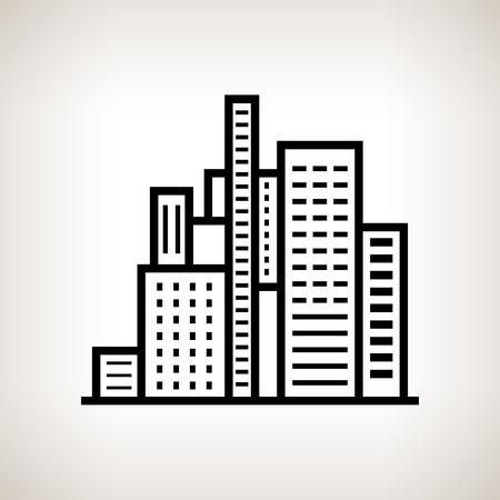 centre d affaires: b�timents modernes de Silhouette, centre d'affaires sur un fond de lumi�re, noir et blanc illustration vectorielle Illustration