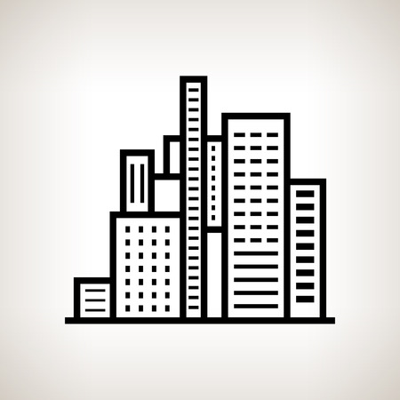 Silhouette modern buildings, business center on a light background , black and white  vector illustration Vector