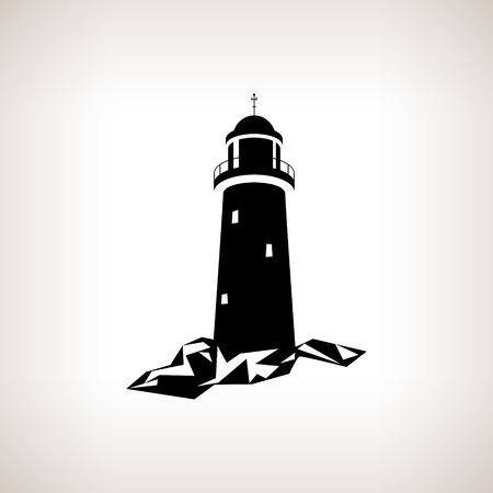 Het silhouet van de vuurtoren op een lichte achtergrond, zwart en wit vector illustratie