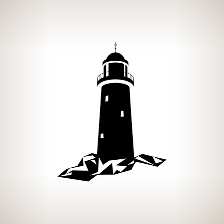 background black: Silhouette lighthouse on a light background , black and white  vector illustration