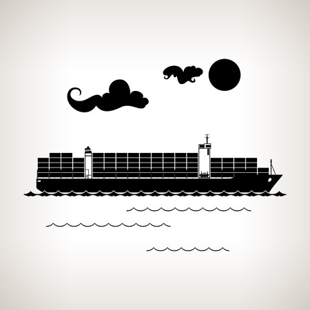 Silhouette cargo container ship with clouds and sun on a light background , black and white  vector illustration Stock Illustratie