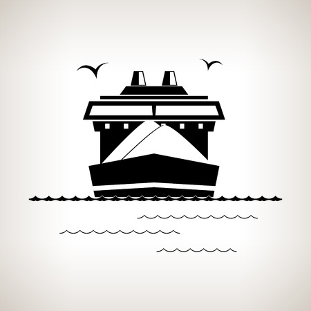 Silhouette cargo ship  , dry cargo ship on a light background , black and white  vector illustration Stock Illustratie