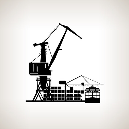 docks: Silhouette cargo container ship and cargo crane   on a light background, unloading containers from a cargo ship on the docks with cargo crane , black and white  vector illustration Illustration