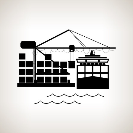 unloading: Silhouette cargo container ship and cargo crane   on a light background, unloading containers from a cargo ship on the docks with cargo crane , black and white  vector illustration Illustration