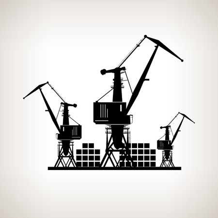 Silhouette cargo cranes and containers  on a light background,  black and white  vector illustration Illustration
