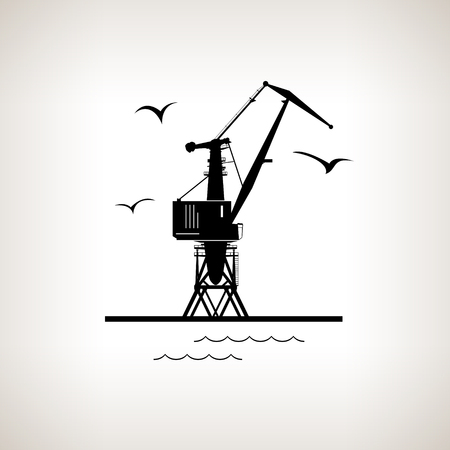 dockyard: Silhouette cargo crane and seagulls in dock  on a light background,  black and white  vector illustration