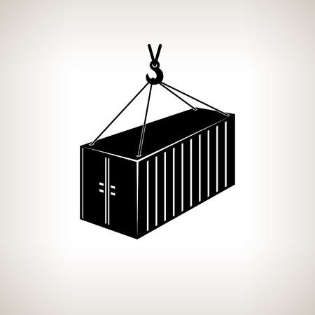 Silhouette container, which hangs in the air  on tap on a light background,  black and white  vector illustration Vector