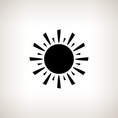 Silhouette sun with rays on a light background , black and white  vector illustration Ilustração
