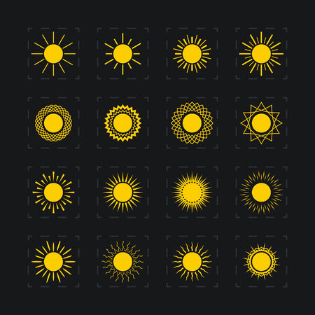 Set of different images of the sun, abstract yellow sun, vector illustration