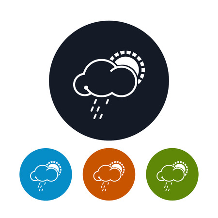torrential rain: Icon sun with rain Illustration