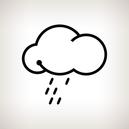 torrential: Silhouette cloud  with the rain  on a light background