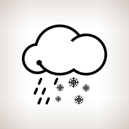 sleet: Sleet, cloud with snowflakes and rain  on a light background , black and white  vector illustration Illustration