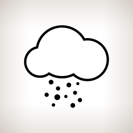 granizo: Nube silueta con granizo sobre un fondo claro