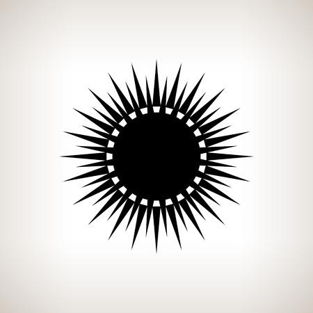 Silueta sol con rayos sobre un fondo claro, ilustración vectorial blanco y negro
