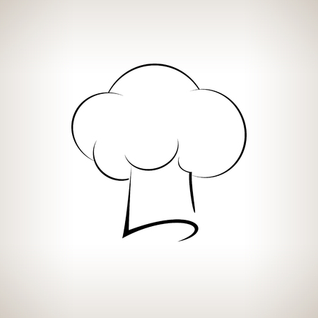 toque: Silhouette chefs  hat , chefs toque hat on a light background,  black and white  vector illustration