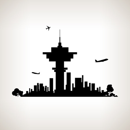 Silhouette control tower at the airport against the background of the city,  black and white  vector illustration Illustration