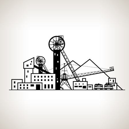 Silhouette complex industrial facilities with spoil tip and with rail cars, coal mine on the light background, black and white  vector illustration