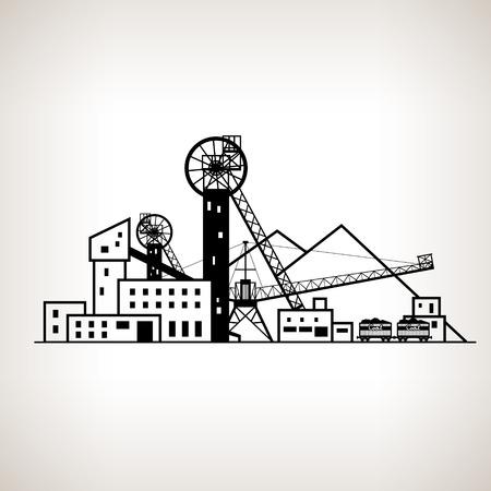 Silueta de instalaciones industriales complejas con punta botín y con carros de ferrocarril, mina de carbón en el fondo ligero, ilustración vectorial blanco y negro