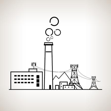 明るい背景、黒と白のベクトル図の石炭発電所、電力ラインとシルエット複雑な産業施設  イラスト・ベクター素材
