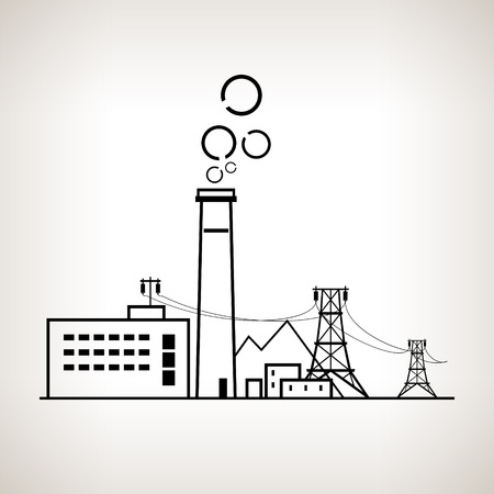 Silhouette complex industrial facilities with the power line, coal power station on the light background, black and white  vector illustration