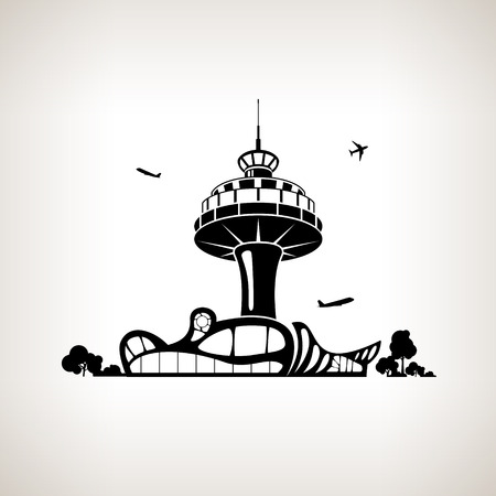airport arrival: Silhouette control tower at the airport on a light background,  black and white  vector illustration