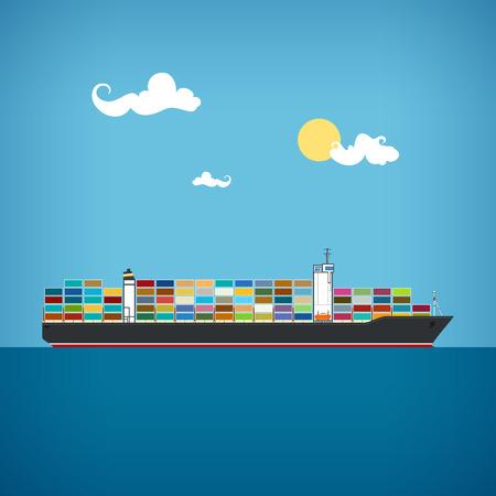 Barco de contenedores de carga transporta contenedores en el océano azul en un día soleado, ilustración vectorial Ilustración de vector