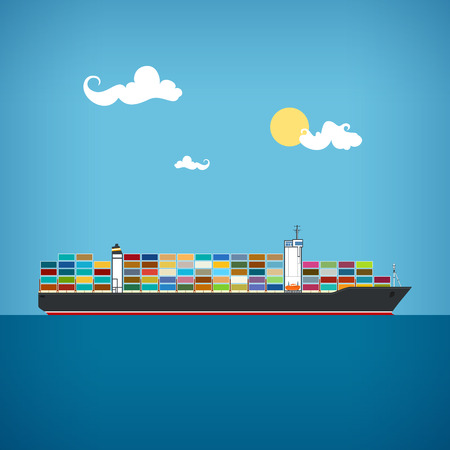 Cargo container ship transports containers at the blue ocean in a sunny day, vector illustration
