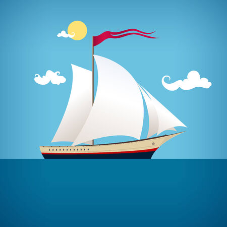 Sailing vessel with a flag in the blue ocean in a sunny day, vector illustration
