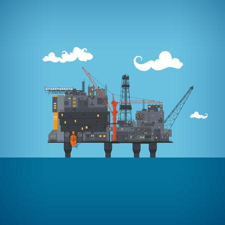 torres petroleras: Plataforma petrolera costa afuera en el océano azul. Helipuerto, grúas, torre de perforación, la columna de casco, salvavidas, taller, colector, módulo de elevación de gas, ilustración vectorial