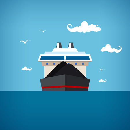 Dry cargo ship at the blue ocean among seagulls and clouds transports coal, vector illustration