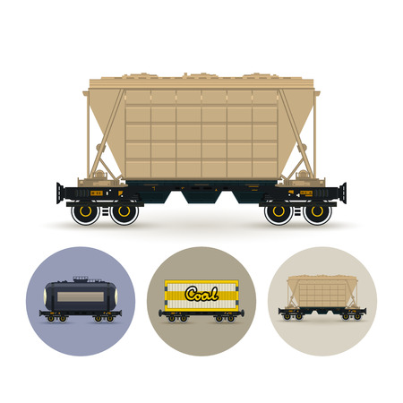 bulk: Hopper car for mass transit fertilizer, cement, grain and other bulk cargo. Set of three round colorful icons , icon  railway car the tank, icon railway wagon , icon hopper car for mass transit bulk cargo, vector illustration