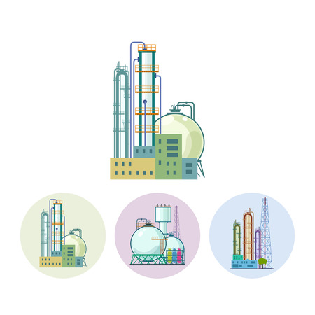 pollutants: Set of three round colorful icons  chemical plants. Icon of a chemical plant or refinery processing of natural resources, or a plant for the manufacture of products. Chemical factory silhouette for industrial and technology design ,  vector illustration