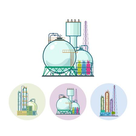 Ensemble de trois icônes colorées autour des usines chimiques. Icône d'une usine de traitement chimique ou de raffinage de ressources naturelles, ou une installation pour la fabrication de produits. Silhouette usine chimique pour le design industriel et de la technologie, illustration vectorielle Banque d'images - 35461894